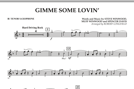 Gimme Some Lovin' - Bb Tenor Saxophone (Concert Band)