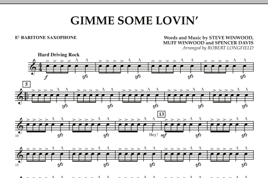 Gimme Some Lovin' - Eb Baritone Saxophone (Concert Band)