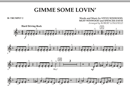 Gimme Some Lovin' - Bb Trumpet 2 (Concert Band)