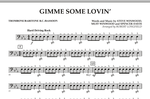 Gimme Some Lovin' - Trombone/Baritone B.C./Bassoon (Concert Band)