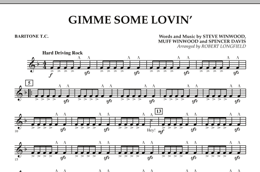 Gimme Some Lovin' - Baritone T.C. (Concert Band)
