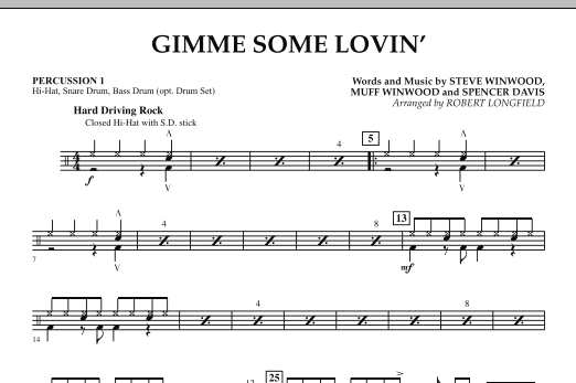 Gimme Some Lovin' - Percussion 1 (Concert Band)