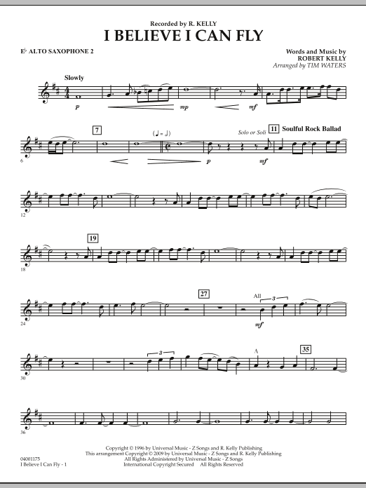 I Believe I Can Fly - Eb Alto Saxophone 2 (Concert Band)