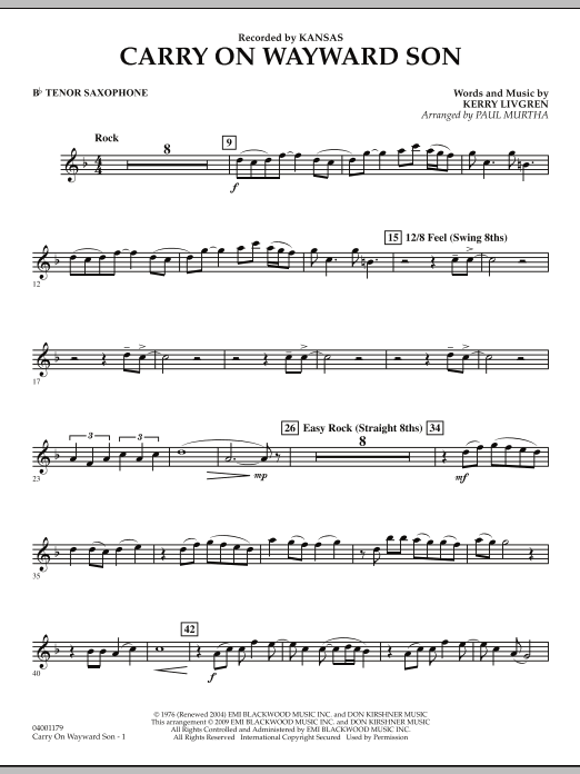 Carry On Wayward Son F Horn 2 By Kerry Livgren Paul Murtha