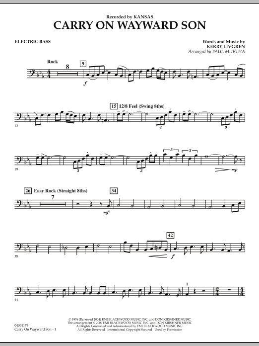 Carry On Wayward Son Full Score By Kerry Livgren Paul Murtha