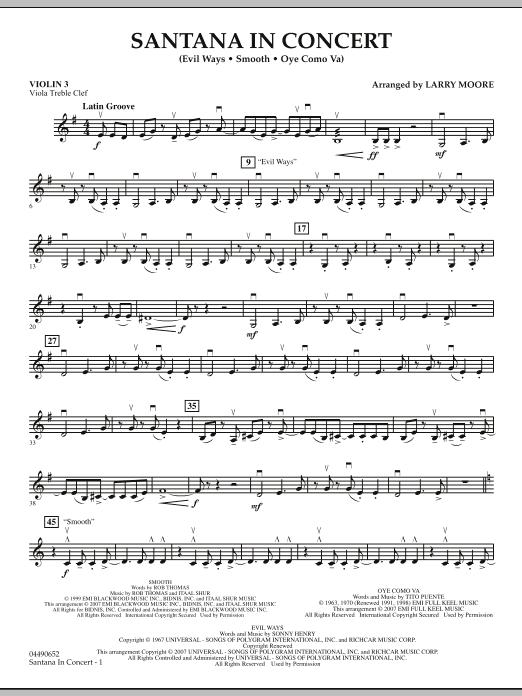 Santana in Concert - Violin 3 (Viola Treble Clef) (Orchestra)