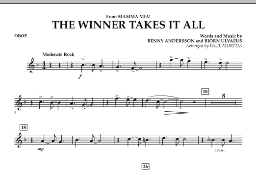 "The Winner Takes It All (from ""Mamma Mia!"" - The Motion Picture) - Oboe (Concert Band)"