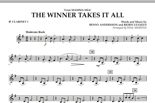 "The Winner Takes It All (from ""Mamma Mia!"" - The Motion Picture) - Bb Clarinet 1 (Concert Band)"