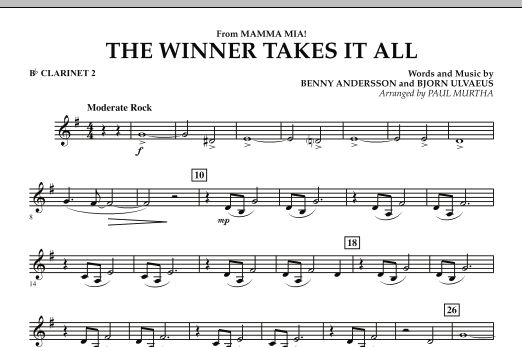 """The Winner Takes It All (from """"Mamma Mia!"""" - The Motion Picture) - Bb Clarinet 2 (Concert Band)"""
