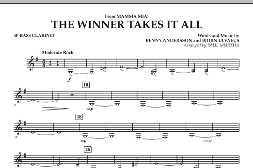 "The Winner Takes It All (from ""Mamma Mia!"" - The Motion Picture) - Bb Bass Clarinet (Concert Band)"