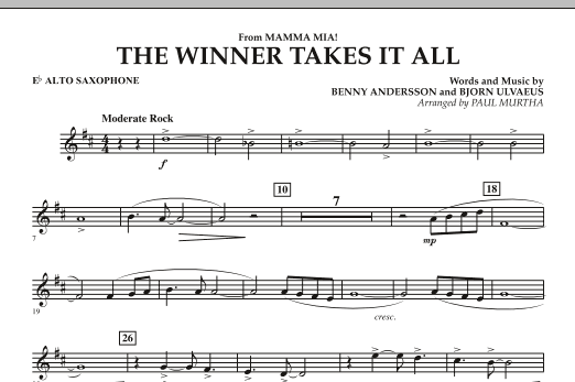 "The Winner Takes It All (from ""Mamma Mia!"" - The Motion Picture) - Eb Alto Saxophone (Concert Band)"