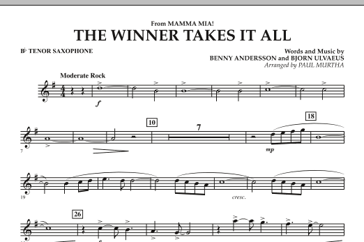 """The Winner Takes It All (from """"Mamma Mia!"""" - The Motion Picture) - Bb Tenor Saxophone (Concert Band)"""