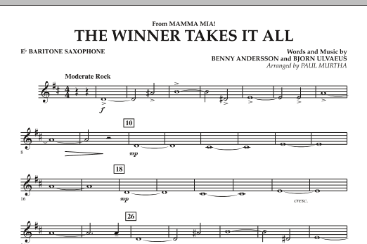 "The Winner Takes It All (from ""Mamma Mia!"" - The Motion Picture) - Eb Baritone Saxophone (Concert Band)"