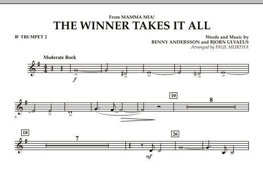"""The Winner Takes It All (from """"Mamma Mia!"""" - The Motion Picture) - Bb Trumpet 2 (Concert Band)"""