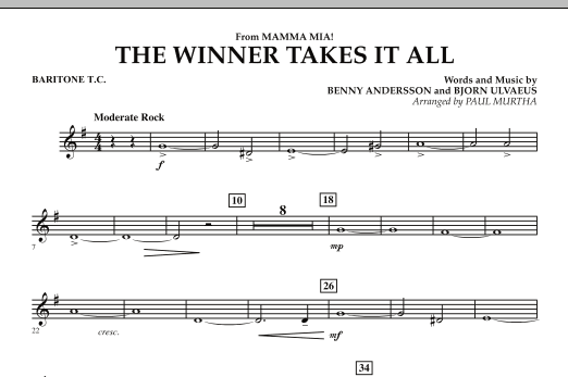 "The Winner Takes It All (from ""Mamma Mia!"" - The Motion Picture) - Baritone T.C. (Concert Band)"