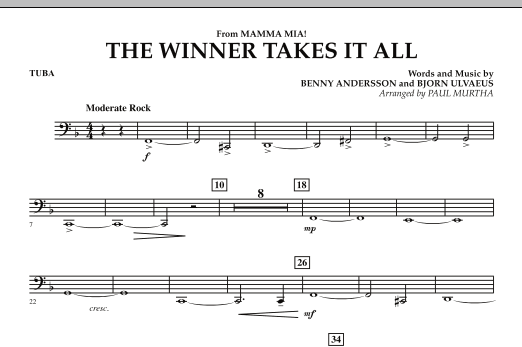 "The Winner Takes It All (from ""Mamma Mia!"" - The Motion Picture) - Tuba (Concert Band)"