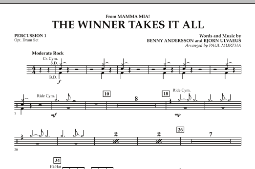 "The Winner Takes It All (from ""Mamma Mia!"" - The Motion Picture) - Percussion 1 (Concert Band)"