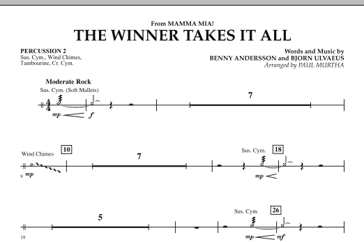 """The Winner Takes It All (from """"Mamma Mia!"""" - The Motion Picture) - Percussion 2 (Concert Band)"""