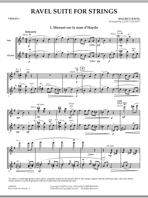 Ravel Suite for Strings - Violin 1 (Orchestra)