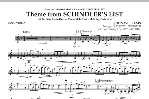 Theme from Schindler's List - Solo Violin (Orchestra)
