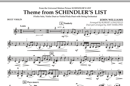 Theme from Schindler's List - Duet Violin (Orchestra)