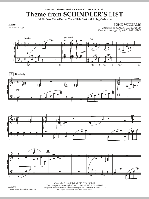 Theme from Schindler's List - Harp (Orchestra)