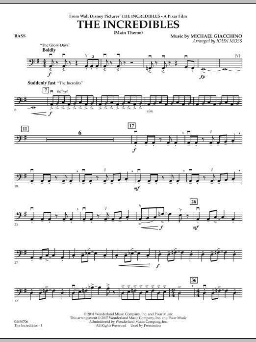The Incredibles - String Bass (Orchestra)