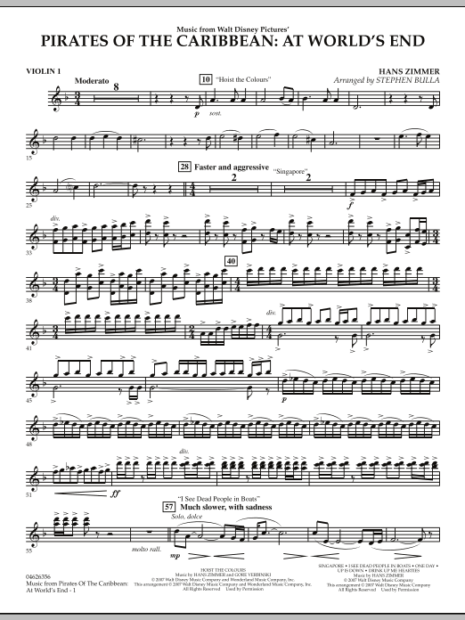 Music from Pirates of the Caribbean: At World's End - Violin 1 (Orchestra)