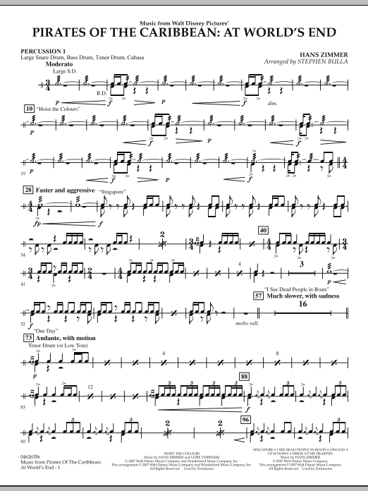 Music from Pirates of the Caribbean: At World's End - Percussion 1 (Orchestra)
