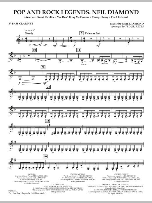 Pop and Rock Legends - Neil Diamond - Bb Bass Clarinet (Concert Band)