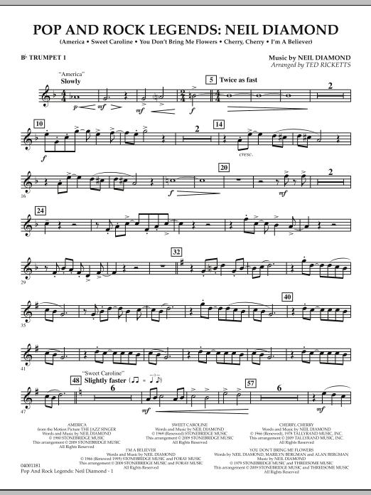 Pop and Rock Legends - Neil Diamond - Bb Trumpet 1 (Concert Band)
