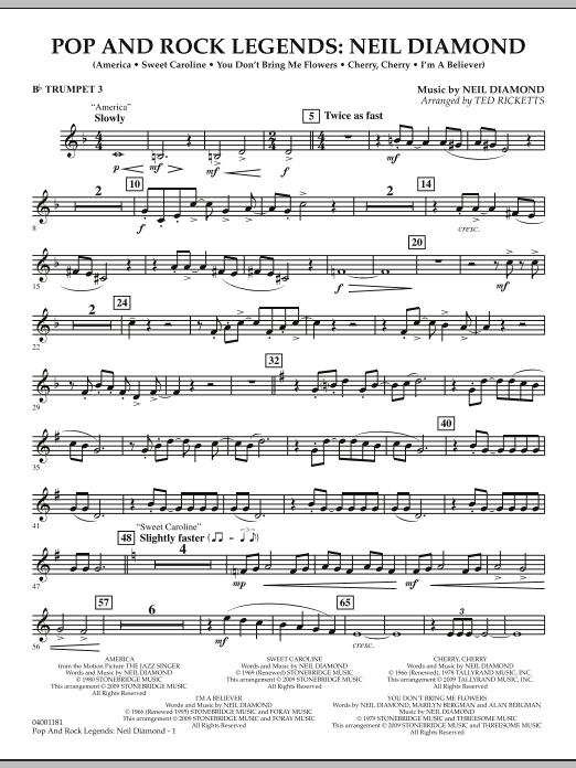 Pop and Rock Legends - Neil Diamond - Bb Trumpet 3 (Concert Band)