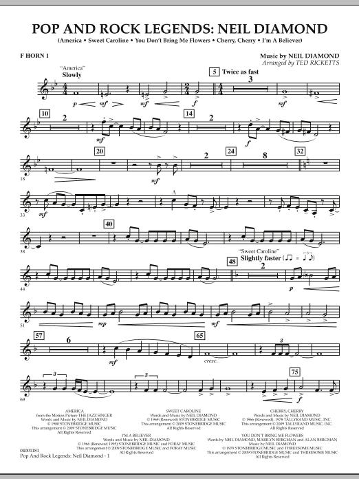 Pop and Rock Legends - Neil Diamond - F Horn 1 (Concert Band)
