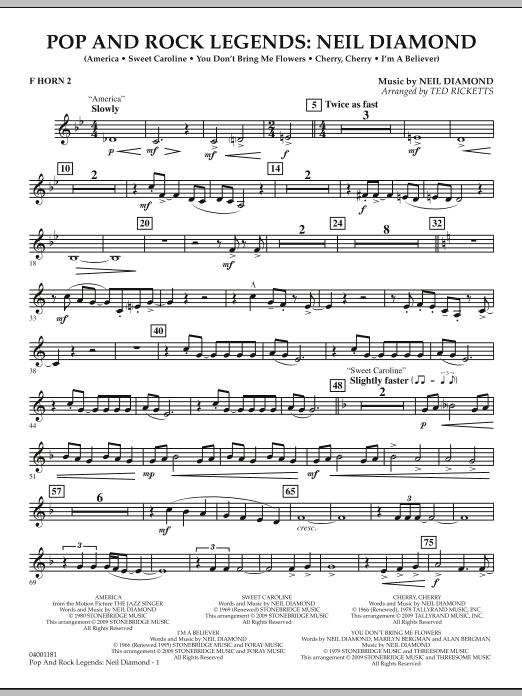 Pop and Rock Legends - Neil Diamond - F Horn 2 (Concert Band)