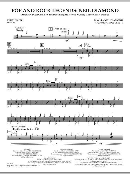Pop and Rock Legends - Neil Diamond - Percussion 1 (Concert Band)