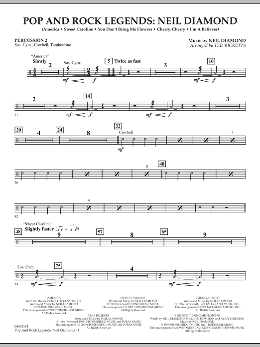 Pop and Rock Legends - Neil Diamond - Percussion 2 (Concert Band)