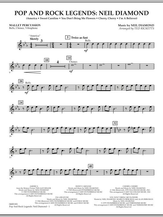 Pop and Rock Legends - Neil Diamond - Mallet Percussion (Concert Band)