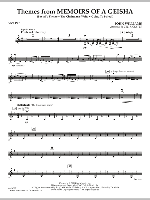 Themes from Memoirs of a Geisha - Violin 2 (Orchestra)
