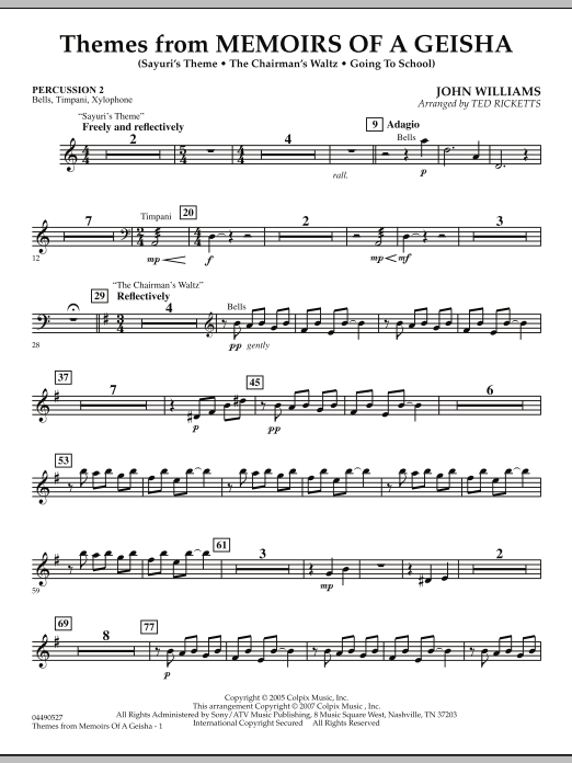 Themes from Memoirs of a Geisha - Percussion 2 (Orchestra)
