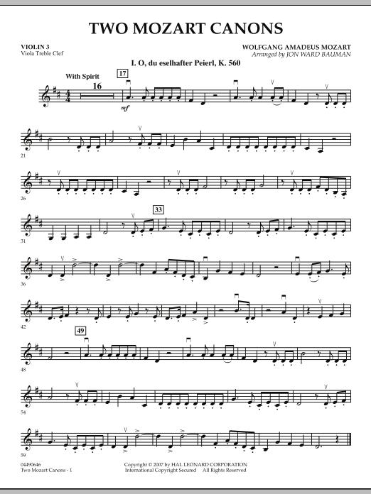 Two Mozart Canons - Violin 3 (Viola Treble Clef) (Orchestra)