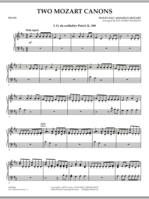 Two Mozart Canons - Piano (Orchestra)