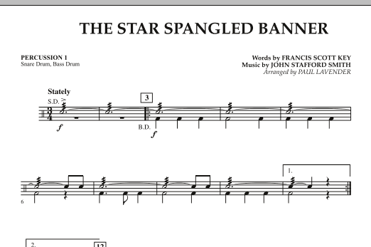 Star Spangled Banner - Percussion 1 (Orchestra)