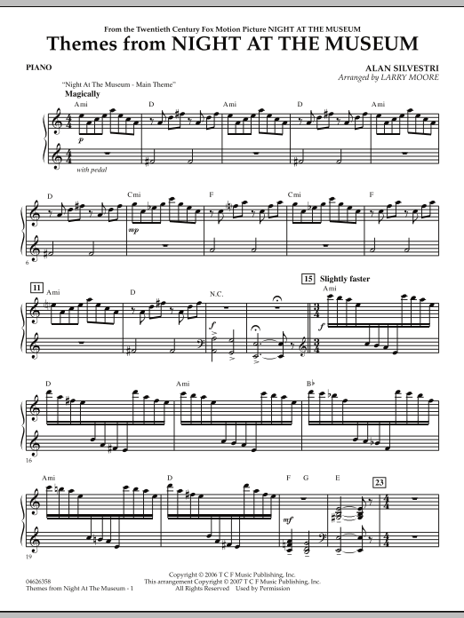 Themes from Night at the Museum - Piano (Orchestra)