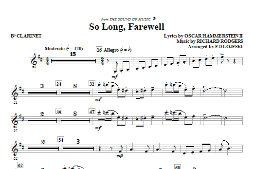 So Long, Farewell (from The Sound Of Music) - Bb Clarinet (Choir Instrumental Pak)