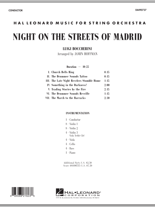 Night on the Streets of Madrid (COMPLETE) sheet music for orchestra by Jamin Hoffman and Luigi Boccherini. Score Image Preview.