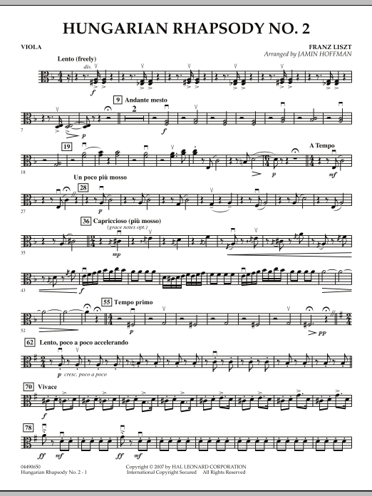 Hungarian Rhapsody No. 2 - Viola (Orchestra)