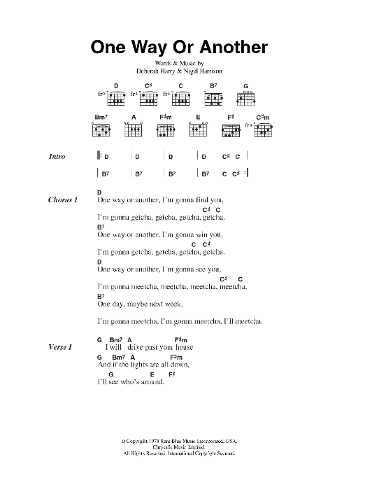 One Way Or Anotherblonguitar Chords Lyrics