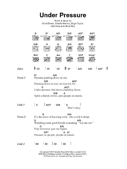 Fantastic Under Pressure Guitar Chords Illustration Basic Guitar