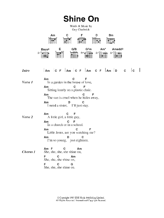 Shine On by House Of Love - Guitar Chords/Lyrics - Guitar Instructor