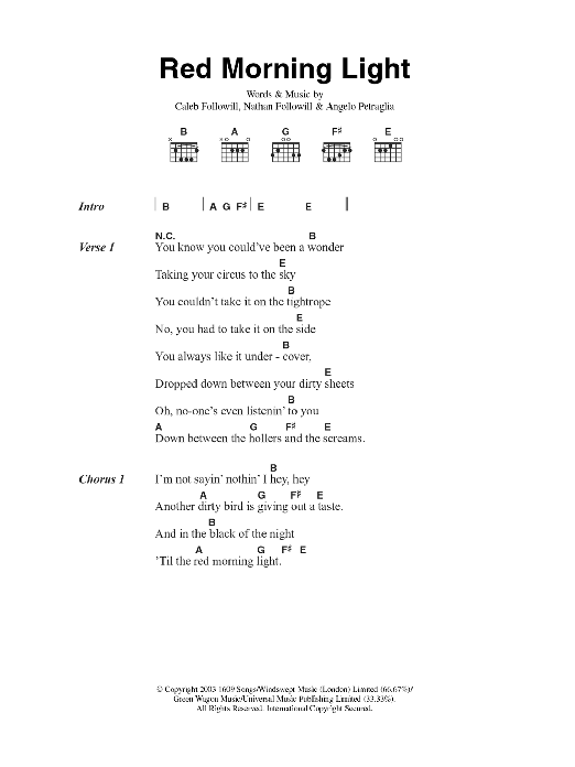 Red Morning Light Sheet Music